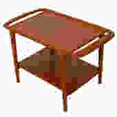 Danish Modern Teak Side / Accent Table w/ Handles by Niels Moller