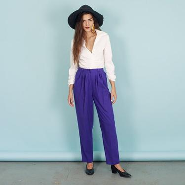 80s Bright Purple Cotton Trousers Vintage High Rise Pleated Cotton Pants by AppleBranchesVintage