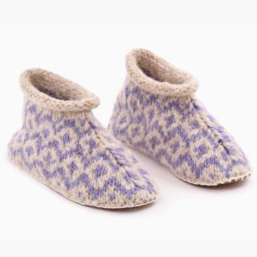 Fair Isle Knit Alpaca Slipper Lilac/Beige