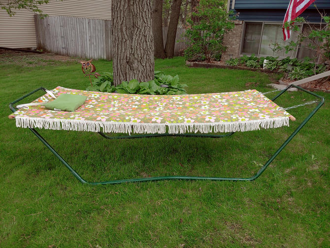 Vintage McArthur and Sons Floral Fringed Outdoor Hammock with Stand and Pillow by RedsRustyRelics