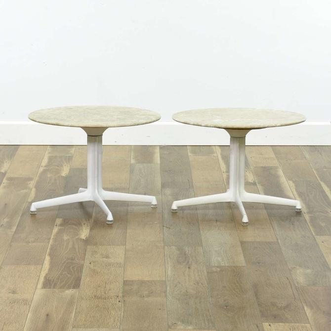 Pair Of White Mid Century Modern Stone Top Tables