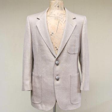 """Vintage 1980s LANVIN Jacket, 80s Designer Jacket, Beige Wool 2-Button Sport Coat, Men's Summer Weight Wool Blazer, 41"""" Chest by RanchQueenVintage"""