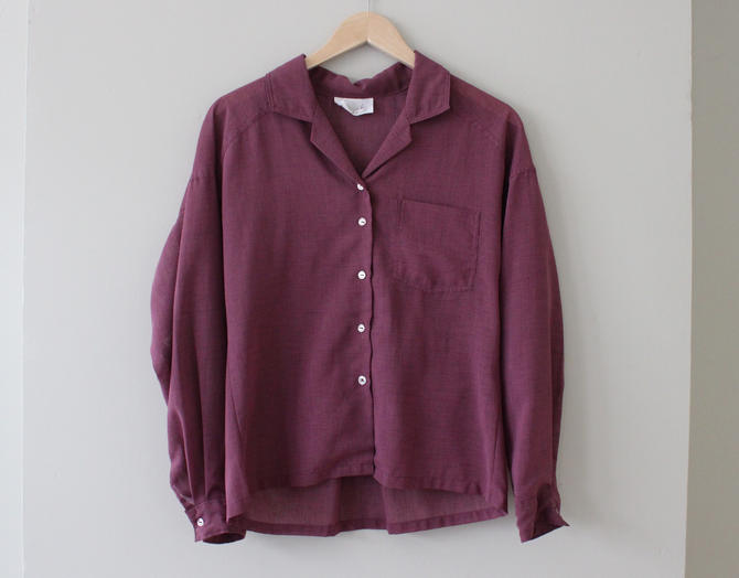 Vintage Purple Sheer Textured Long Sleeve Button Up Top Women's Size M L by NeonSkyVintageMN
