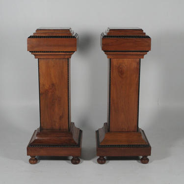 Mid-Century Pair Of Solid Walnut Wood Pedestals With Ebonized Highlights