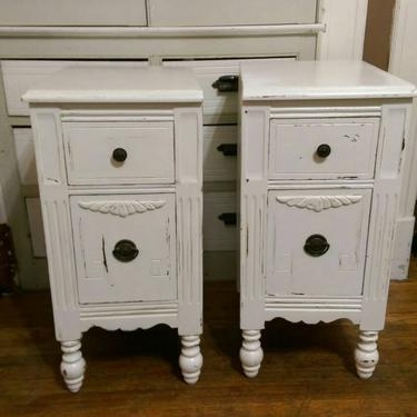 HOLD Faith Custom Order a Set Vintage Nightstands Ornate Carved French Provincial  Shabby Cottage Chic Custom Painted Furniture by JazzySellers
