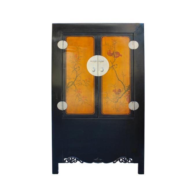 Chinese Black Orange Yellow Graphic  Armoire Wardrobe Cabinet cs5775