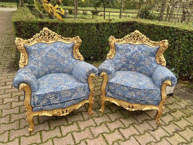 Vintage Chairs *2 Available* French Chairs Vintage Furniture Rococo Chair Baroque Interior Design French Louis XVI Blue Chair by SittinPrettyByMyleen