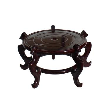 """Chinese Brown Wood Round Table Top Stand Display Easel 15"""" ws883E by GoldenLotusAntiques"""