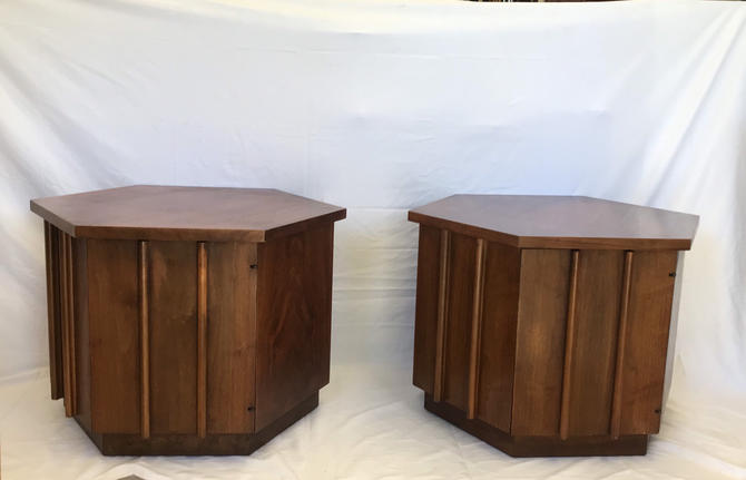 Free Shipping Within US - Lane Vintage Mid Century Modern Sofa or Bed Side Table Stand with Storage by BigWhaleConsignment