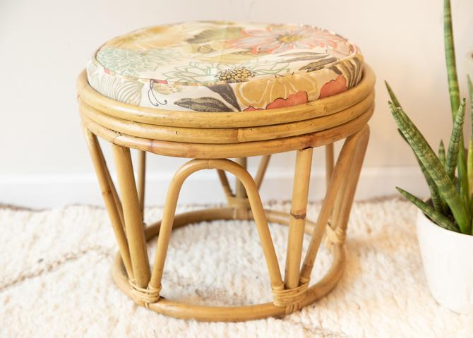 Large Vintage Woven Bentwood Bamboo Ottoman with Floral Cushion by PortlandRevibe