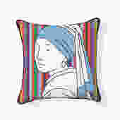 Modern Girl with a Pearl Earring Pillow