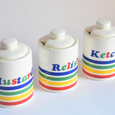 AS-IS Vintage Condiment Canisters | Kitsch Rainbow Stripes | 1970s 1980s | BBQ Party Kitchen Kitsch | Lidded Ketchup Mustard Relish Jar Set by LostandFoundHandwrks