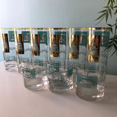 10 Libby Southern Comfort Steamboat 10 oz. Tumbler Glasses and scotch glasses Turquoise & Gold Mid Century Bar Glasses by VintageCoreReStore