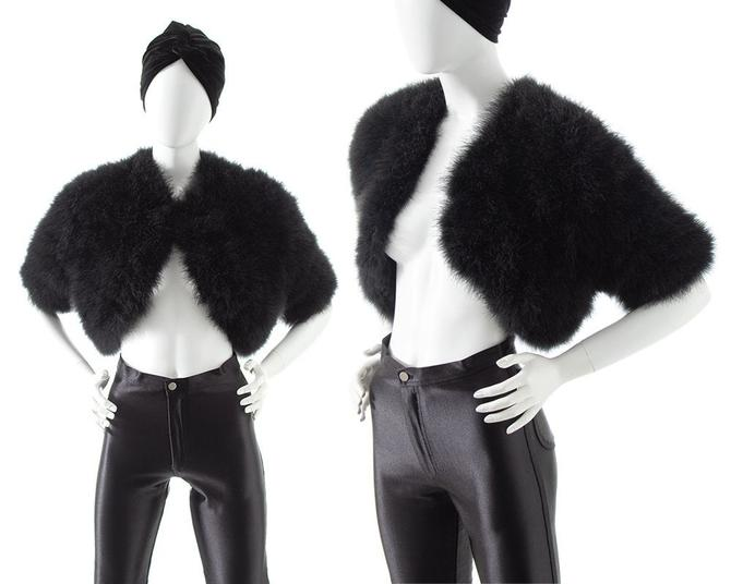 Vintage 1960s 1970s Bolero | 60s 70s Black Marabou Feather Cropped Formal Glam Goth Shrug (x-small/small) by BirthdayLifeVintage