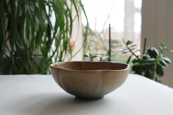 Mid century modern petal bowl hand made ceramic jug town north carolina heathe pottery salad fruit bowl serving glazed flower earthenware by FancyHaus