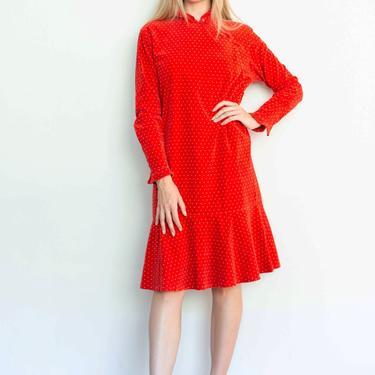 Vintage KENZO c 1981 Rare Red Polka Dot Cotton Velvet Dress with Ruffled Cheongsam Style Collar Baggy Oversized by backroomclothing
