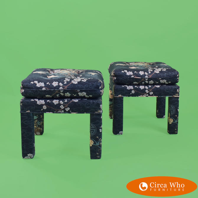 Pair of Upholstered Square Small Benches
