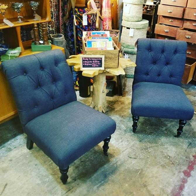 Pair of tufted slipper chairs. $150