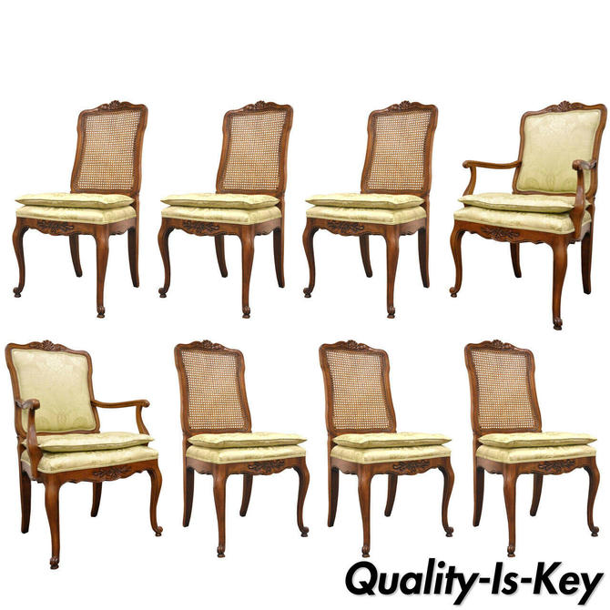 Set of Eight French Country Louis XV Style Cane & Walnut Dining Chairs by Kindel
