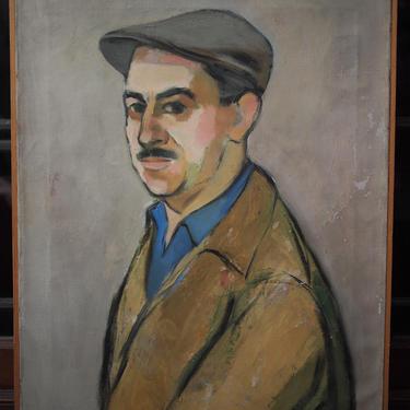 "Vintage 1959 NORMAN BARR Mustache Man Portrait PAINTING 24x18"" Oil / Canvas, Wpa Mid-Century Modern Art eames knoll era newsboy cap kangol by refugegallery"