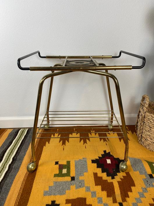 Vintage Mid Century Pivoting Rolling TV Stand / Stereo Cart by DesertCactusVintage