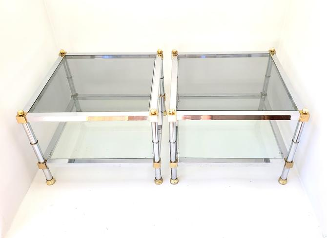 1970'S Maison Jansen Mid Century Modern PETITE Chrome & Brass End Tables Nightstands Low Profile Smoked Glass Square Pair Hollywood Regency! by MakingMidCenturyMod