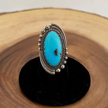 SPINNING AROUND Vintage Silver and Turquoise Ring   Turquoise Jewelry   Vintage Sterling   Native American Style Jewelry   Size 6 1/4 by lovestreetsf
