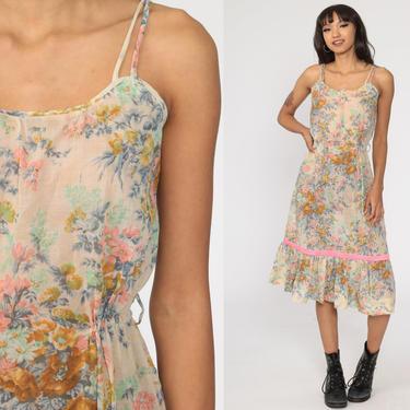 70s Sun Dress Semi-Sheer Floral Sundress Boho Midi Summer Dress Hippie 1970s Vintage High Waist Spaghetti Straps Bohemian Small S by ShopExile