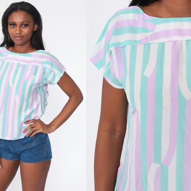 80s Striped Shirt Lavender Purple Top Pastel Turquoise CAP SLEEVE Blouse 1980s Shirt Vintage Retro Small Medium by ShopExile