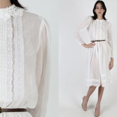 All White Gunne Sax Dress / Tiny Collar Romantic Bridal Dress / Vintage 70s Victorian Crochet / Sheer Country Prairie Lawn Midi Mini Dress by americanarchive