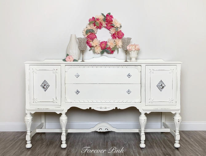 Vintage White Jacobean Buffet - Refinished Sideboard by ForeverPinkVintage