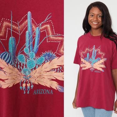Arizona Cactus Shirt Desert TShirt 90s Shirt Native American Shirt Vintage Saguaro T Shirt Graphic Print 1990s Southwest Top Extra Large xl by ShopExile