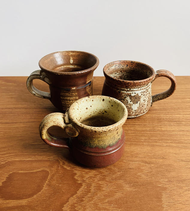 Mixed set of 3 small mugs / signed handmade earthy vintage pottery / espresso or hot chocolate cups by EarthshipVintage
