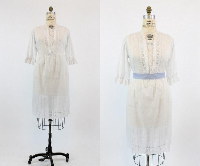 1910s Edwardian Dress Medium Large /  Antique Cotton Lace Dress /  Windsor Square Dress by CrushVintage