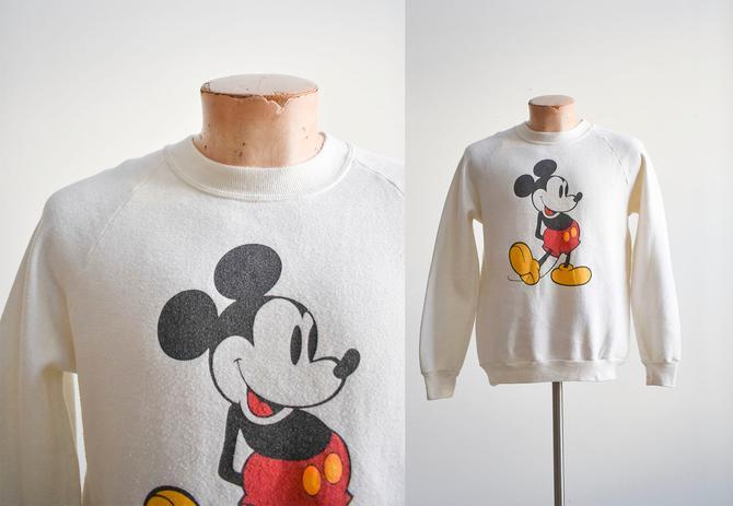 1980s White Mickey Mouse Raglan Sweatshirt by milkandice