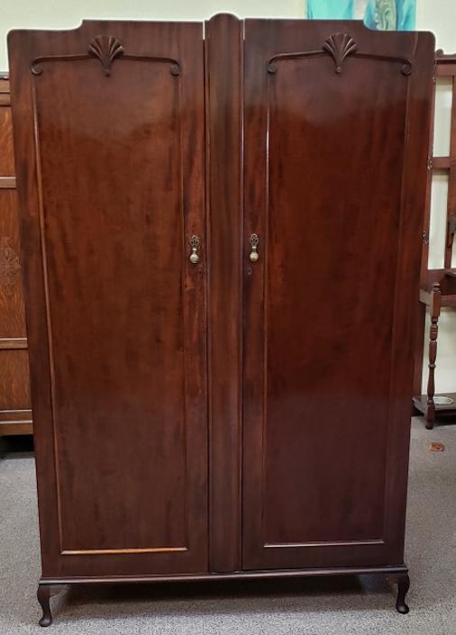 Item #S2011 Deco Mahogany Double Door Armoire c.1920s
