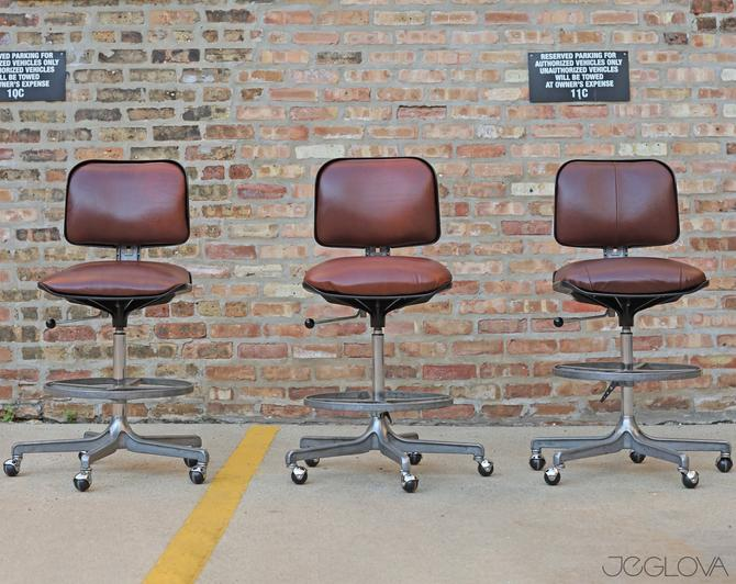 """set of 3 matching reupholstered rolling stools, """"Eurochair"""" designed by legendary Fritz Makiol for Girsberger by jeglova"""