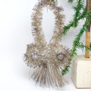 Large 8 Inch Early 1900's Victorian Tinsel and Mercury Glass Ball Christmas Ornament, Antique Decor by exploremag