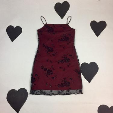 90's red glitter net rose slip dress 1990's sheer mesh flocked velvet burnout overlay goth cyber sexy minimal spaghetti strap mini dress L by verybestvintage