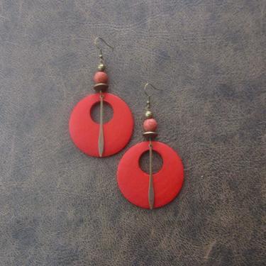 Wooden earrings, natural earrings, mid century modern earrings, African earrings, bold statement, unique ethnic earrings, red earrings by Afrocasian