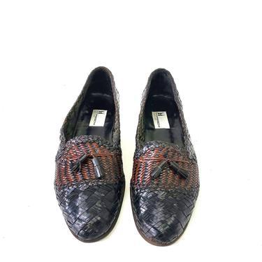 Genuine Moreschi Italy Leather Brown Black Woven Men Slip On Loafers 11.5 Tassel by MakingMidCenturyMod