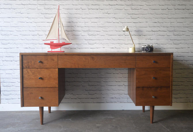Society Desk - Solid Cherry - Teak Stain - Mid Century Modern Inspired - Custom for Briana by STORnewyork