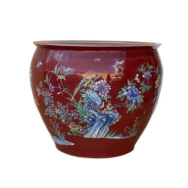 Chinese Oriental Vintage Porcelain Red Flower Birds Graphic Pot ws1601E by GoldenLotusAntiques