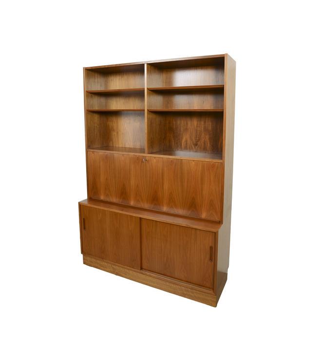 Walnut Wall Unit Desk Bookcase Hutch Hundevad Danish Modern by HearthsideHome