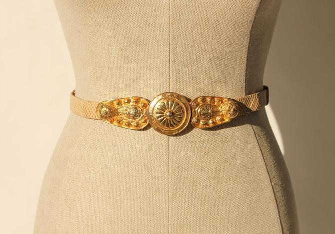 Vintage 80s Alexis Kirk Taupe Snakeskin Adjustable Skinny Belt with Gold Clip Buckle   100% Genuine Snakeskin   1980s Designer Boho Belt by TheVault1969