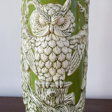 Green Vintage Owl Ceramic Umbrella Stand by CapitolVintageCharm