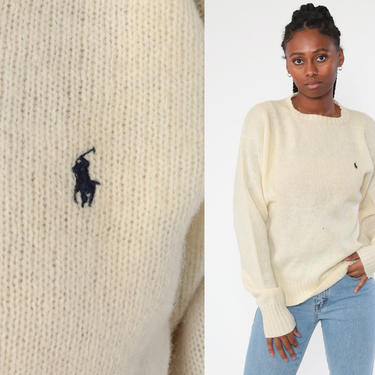 Ralph Lauren Sweater 90s WOOL Sweater Cream Sweater Polo Sport Knit Slouchy Preppy Pullover Jumper Vintage Medium Large by ShopExile