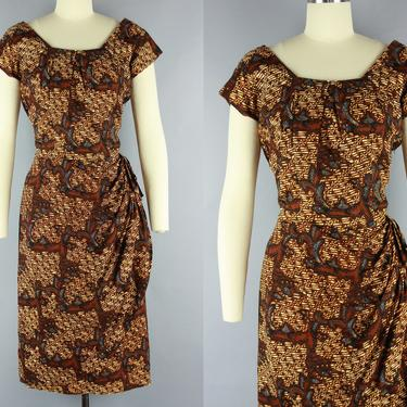 1950s BATIK Wiggle Dress   Vintage 50s 60s Cotton Dress with Faux Wrap Skirt   medium by RelicVintageSF