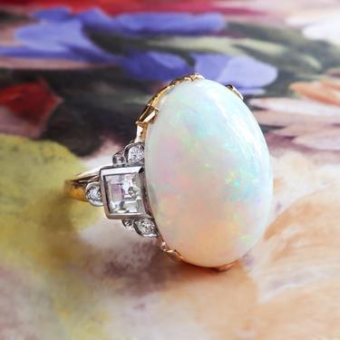 Vintage Opal and Diamond Ring Circa 1940's Australian Cocktail Birthstone Ring 14k Gold Palladium by YourJewelryFinder