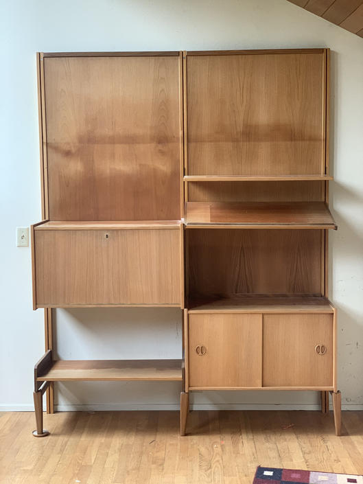 Free Shipping Within US - Danish Oak Mid Century Modern Wall Unit Bar Modular Solid Wood with Cabinet by BigWhaleConsignment